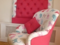 CHILDS CHAIR AND MATCHING HEADBOARD TRADITIONALLY REUPHOLSTERED
